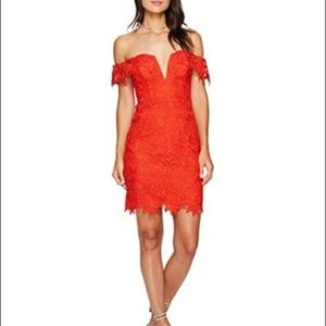 Red lace ASTR the by anthropology dress
